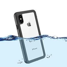 Wasserdicht Unterwasser Silikon Hülle Handyhülle und Kunststoff Waterproof Schutzhülle 360 Grad Tasche für Apple iPhone X Schwarz