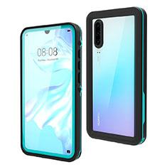 Wasserdicht Unterwasser Silikon Hülle Handyhülle und Kunststoff Waterproof Schutzhülle 360 Grad Tasche für Huawei P30 Cyan