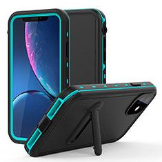 Wasserdicht Unterwasser Silikon Hülle Handyhülle und Kunststoff Waterproof Schutzhülle 360 Grad Tasche mit Ständer für Apple iPhone 11 Cyan