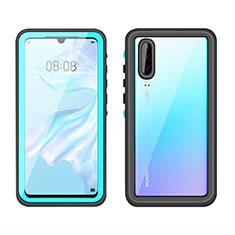 Wasserdicht Unterwasser Silikon Hülle Handyhülle und Kunststoff Waterproof Schutzhülle 360 Grad Tasche T01 für Huawei P30 Cyan