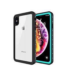Wasserdicht Unterwasser Silikon Hülle Handyhülle und Kunststoff Waterproof Schutzhülle 360 Grad Tasche W01 für Apple iPhone Xs Cyan