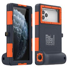 Wasserdicht Unterwasser Silikon Hülle und Kunststoff Waterproof Schutzhülle Handyhülle 360 Grad Ganzkörper Tasche für Apple iPhone 11 Pro Max Orange