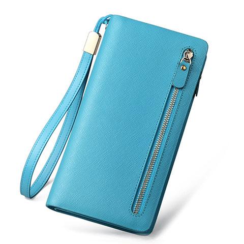 Handtasche Clutch Handbag Leder Silkworm Universal Hellblau