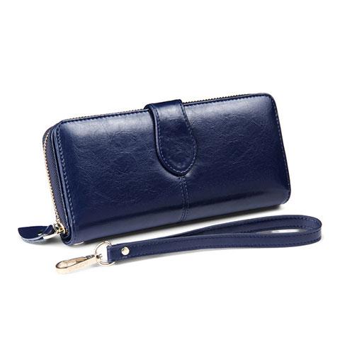 Handtasche Clutch Handbag Schutzhülle Leder Universal H33 Blau