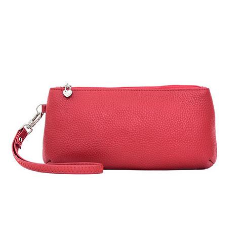 Handtasche Clutch Handbag Schutzhülle Leder Universal K12 Rot