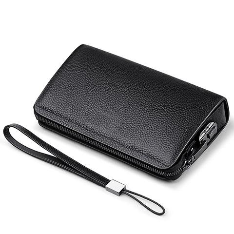 Handtasche Clutch Handbag Schutzhülle Leder Universal K19 Schwarz