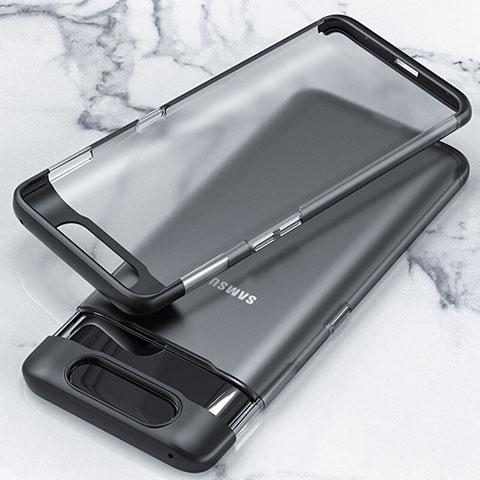 Handyhülle Hülle Crystal Tasche Schutzhülle H02 für Samsung Galaxy A80 Schwarz