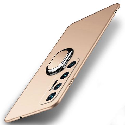 Handyhülle Hülle Hartschalen Kunststoff Schutzhülle Tasche Matt mit Magnetisch Fingerring Ständer A01 für Xiaomi Mi 10 Ultra Gold