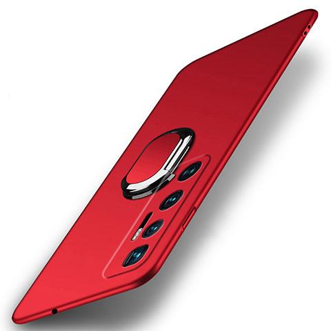 Handyhülle Hülle Hartschalen Kunststoff Schutzhülle Tasche Matt mit Magnetisch Fingerring Ständer A01 für Xiaomi Mi 10 Ultra Rot