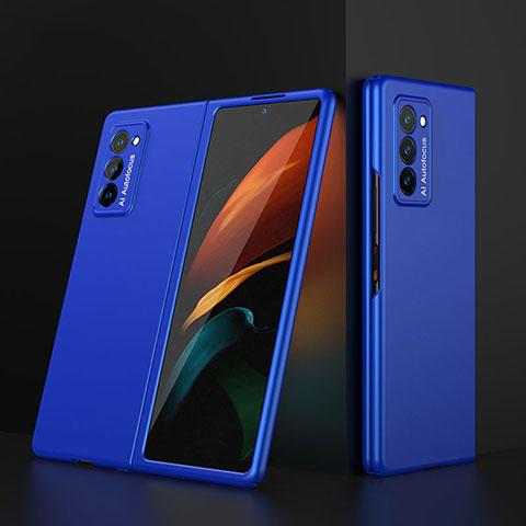 Handyhülle Hülle Hartschalen Kunststoff Schutzhülle Tasche Matt Vorder und Rückseite 360 Grad Ganzkörper für Samsung Galaxy Z Fold2 5G Blau