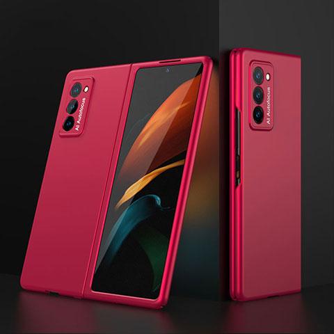 Handyhülle Hülle Hartschalen Kunststoff Schutzhülle Tasche Matt Vorder und Rückseite 360 Grad Ganzkörper für Samsung Galaxy Z Fold2 5G Rot