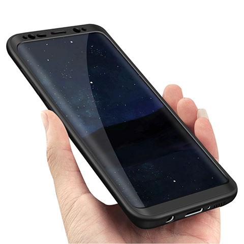 Handyhülle Hülle Kunststoff Schutzhülle Matt Vorder und Rückseite 360 Grad M02 für Samsung Galaxy S8 Plus Schwarz