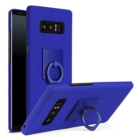 Handyhülle Hülle Kunststoff Schutzhülle Tasche Matt mit Fingerring Ständer A01 für Samsung Galaxy Note 8 Duos N950F Blau