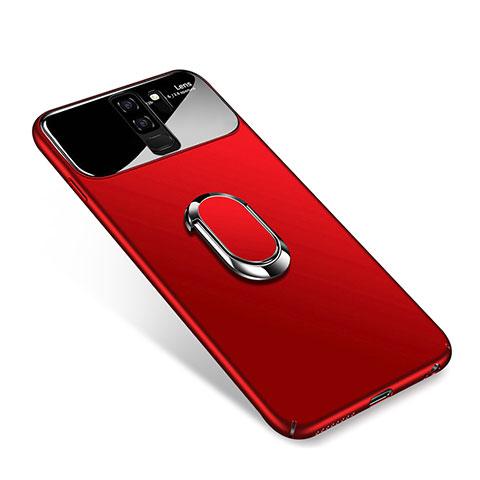 Handyhülle Hülle Kunststoff Schutzhülle Tasche Matt mit Magnetisch Fingerring Ständer A01 für Samsung Galaxy S9 Plus Rot