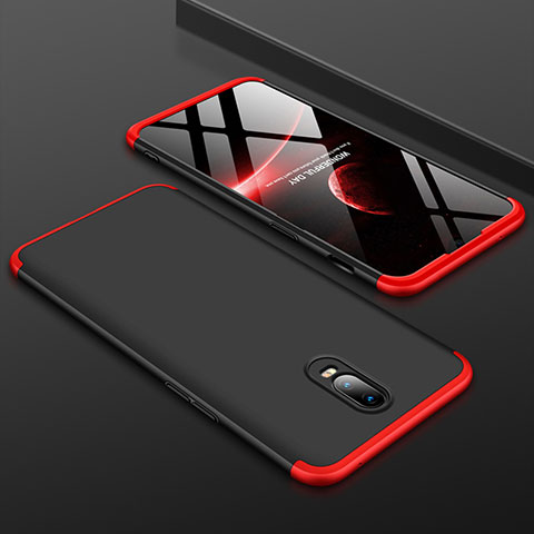 Handyhülle Hülle Kunststoff Schutzhülle Tasche Matt Vorder und Rückseite 360 Grad für OnePlus 6T Rot und Schwarz