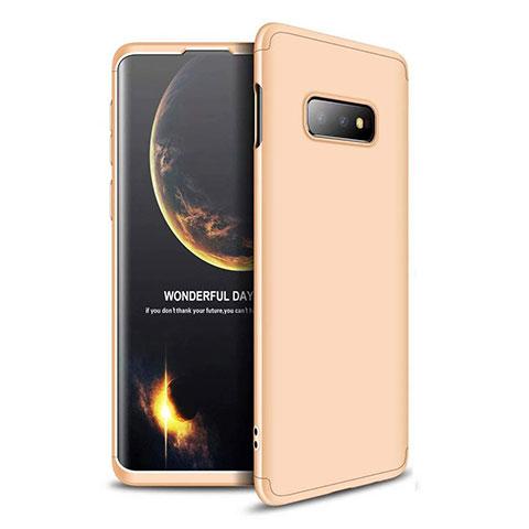 Handyhülle Hülle Kunststoff Schutzhülle Tasche Matt Vorder und Rückseite 360 Grad für Samsung Galaxy S10e Gold
