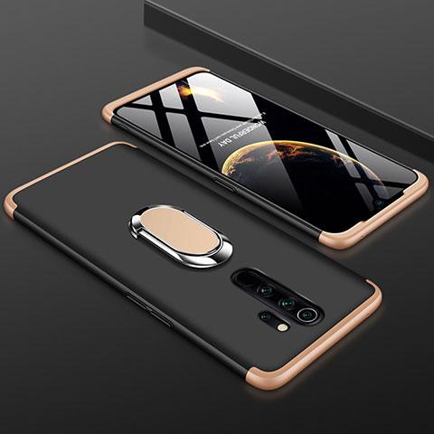 Handyhülle Hülle Kunststoff Schutzhülle Tasche Matt Vorder und Rückseite 360 Grad mit Fingerring Ständer für Xiaomi Redmi Note 8 Pro Gold und Schwarz
