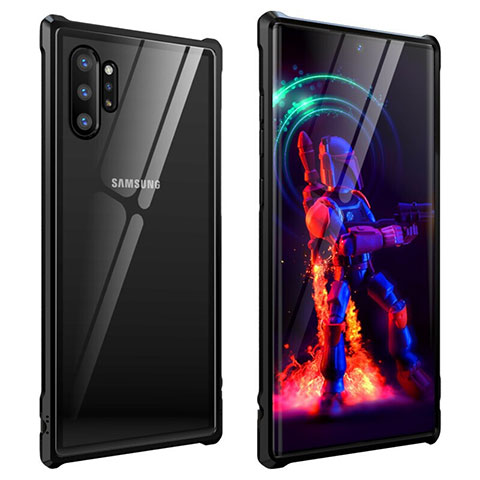 Handyhülle Hülle Luxus Aluminium Metall Rahmen Spiegel 360 Grad Tasche G01 für Samsung Galaxy Note 10 Plus 5G Schwarz