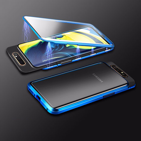 Handyhülle Hülle Luxus Aluminium Metall Rahmen Spiegel 360 Grad Tasche M01 für Samsung Galaxy A80 Blau
