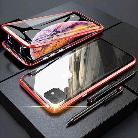 Handyhülle Hülle Luxus Aluminium Metall Rahmen Spiegel 360 Grad Tasche M03 für Apple iPhone 11 Rot
