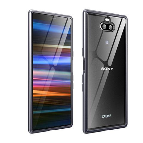 Handyhülle Hülle Luxus Aluminium Metall Rahmen Tasche für Sony Xperia 10 Plus Grau
