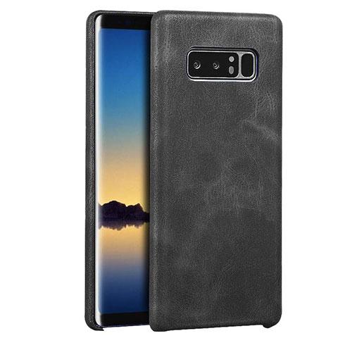 Handyhülle Hülle Luxus Leder Schutzhülle für Samsung Galaxy Note 8 Schwarz