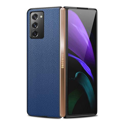 Handyhülle Hülle Luxus Leder Schutzhülle für Samsung Galaxy Z Fold2 5G Blau