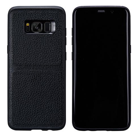 Handyhülle Hülle Luxus Leder Schutzhülle L01 für Samsung Galaxy S8 Schwarz