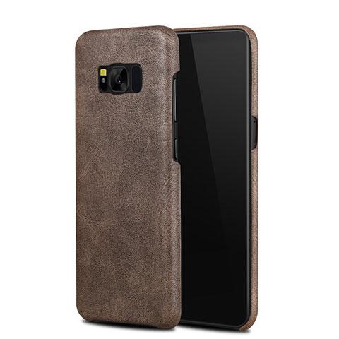 Handyhülle Hülle Luxus Leder Schutzhülle L02 für Samsung Galaxy S8 Braun