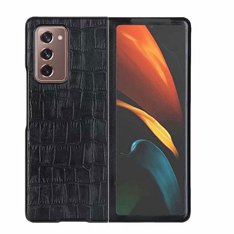 Handyhülle Hülle Luxus Leder Schutzhülle S02 für Samsung Galaxy Z Fold2 5G Schwarz