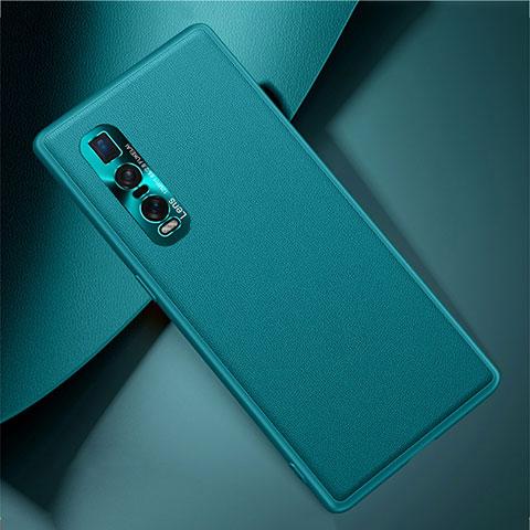 Handyhülle Hülle Luxus Leder Schutzhülle U01 für Oppo Find X2 Pro Cyan