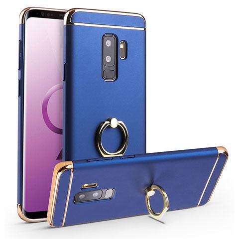 Handyhülle Hülle Luxus Metall Rahmen und Kunststoff Schutzhülle Tasche mit Fingerring Ständer A01 für Samsung Galaxy S9 Plus Blau