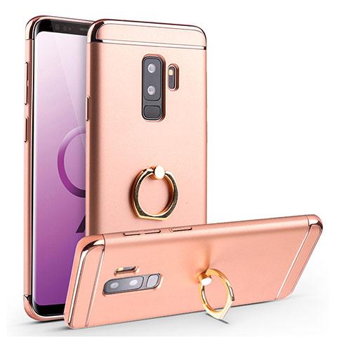Handyhülle Hülle Luxus Metall Rahmen und Kunststoff Schutzhülle Tasche mit Fingerring Ständer A01 für Samsung Galaxy S9 Plus Rosegold