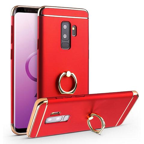 Handyhülle Hülle Luxus Metall Rahmen und Kunststoff Schutzhülle Tasche mit Fingerring Ständer A01 für Samsung Galaxy S9 Plus Rot
