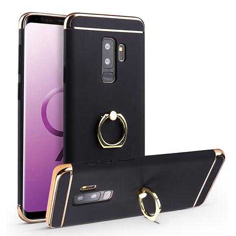 Handyhülle Hülle Luxus Metall Rahmen und Kunststoff Schutzhülle Tasche mit Fingerring Ständer A01 für Samsung Galaxy S9 Plus Schwarz