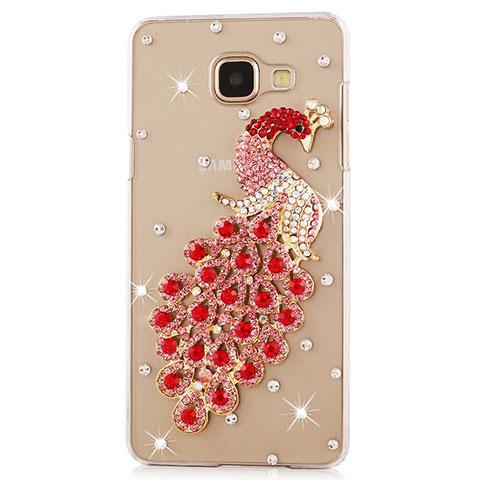 Handyhülle Hülle Luxus Strass Diamant Schutzhülle Pfau für Samsung Galaxy J7 Prime Rot