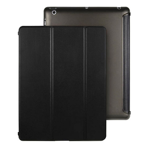 Handyhülle Hülle Stand Tasche Leder für Apple iPad 4 Schwarz