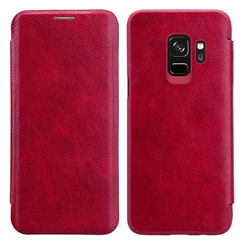 Handyhülle Hülle Stand Tasche Leder L01 für Samsung Galaxy S9 Rot