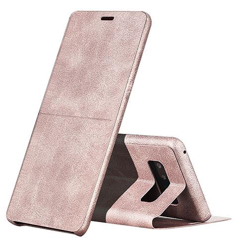 Handyhülle Hülle Stand Tasche Leder L04 für Samsung Galaxy Note 8 Duos N950F Rosa