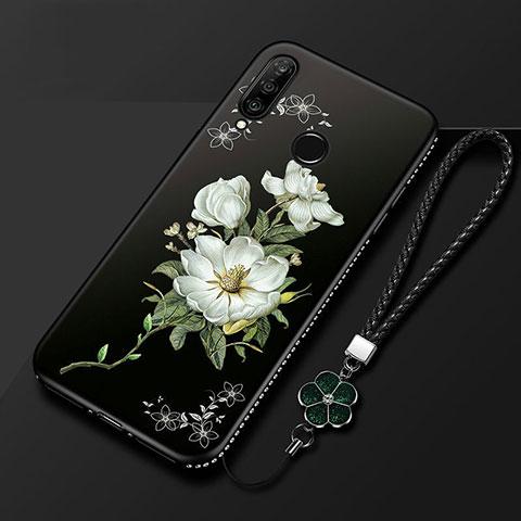 Handyhülle Silikon Hülle Gummi Schutzhülle Blumen für Huawei Honor 20 Lite Schwarz