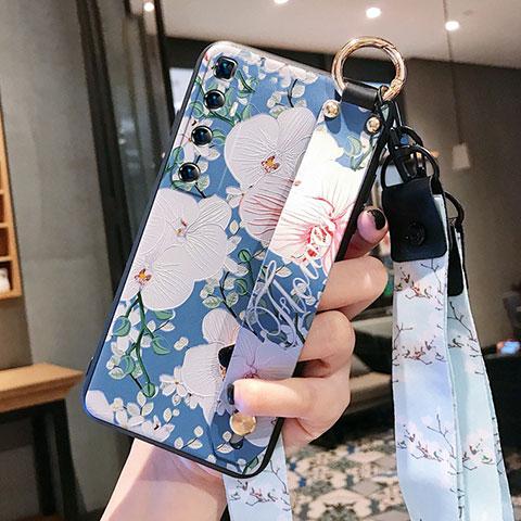 Handyhülle Silikon Hülle Gummi Schutzhülle Flexible Blumen für Xiaomi Mi 10 Ultra Blau