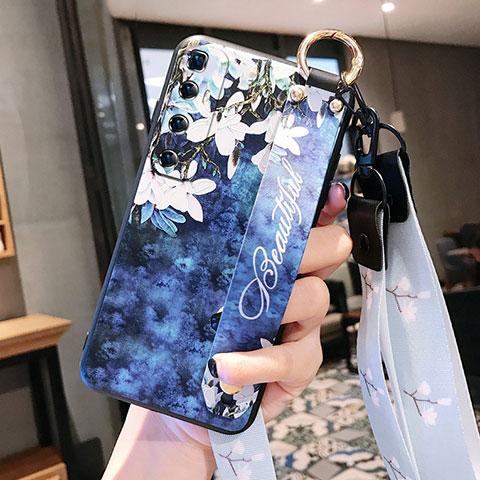 Handyhülle Silikon Hülle Gummi Schutzhülle Flexible Blumen für Xiaomi Mi 10 Ultra Königs Blau