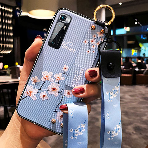 Handyhülle Silikon Hülle Gummi Schutzhülle Flexible Blumen S01 für Xiaomi Mi 10 Ultra Hellblau