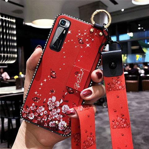 Handyhülle Silikon Hülle Gummi Schutzhülle Flexible Blumen S01 für Xiaomi Mi 10 Ultra Rot
