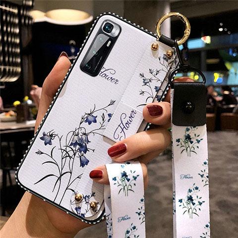 Handyhülle Silikon Hülle Gummi Schutzhülle Flexible Blumen S01 für Xiaomi Mi 10 Ultra Weiß