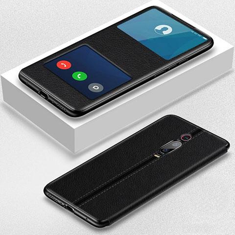 Handytasche Stand Schutzhülle Flip Leder Hülle T02 für Xiaomi Mi 9T Pro Schwarz