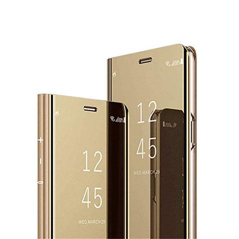 Handytasche Stand Schutzhülle Flip Leder Rahmen Spiegel Tasche L02 für Xiaomi Mi 10 Ultra Gold