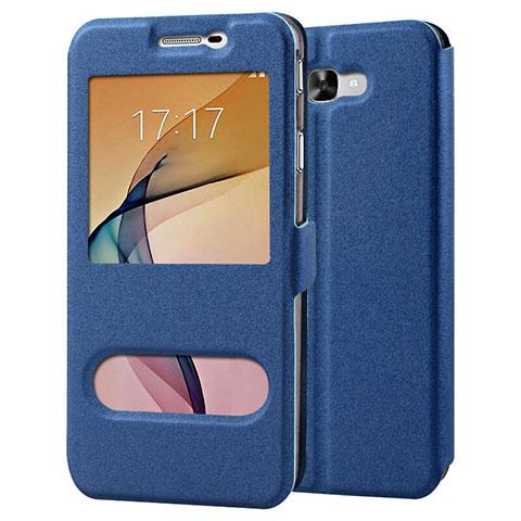 Handytasche Stand Schutzhülle Leder für Samsung Galaxy J7 Prime Blau
