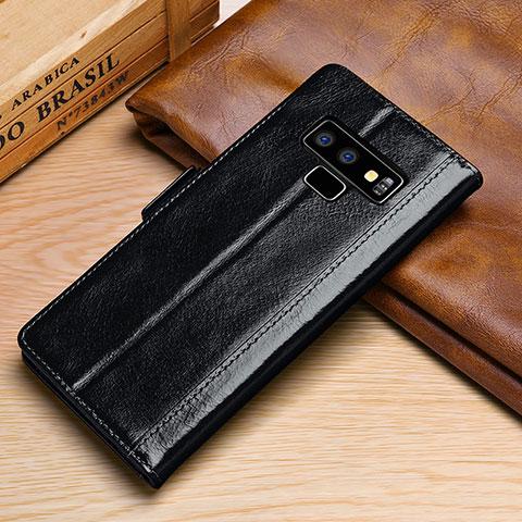 Handytasche Stand Schutzhülle Leder Hülle P01 für Samsung Galaxy Note 9 Schwarz
