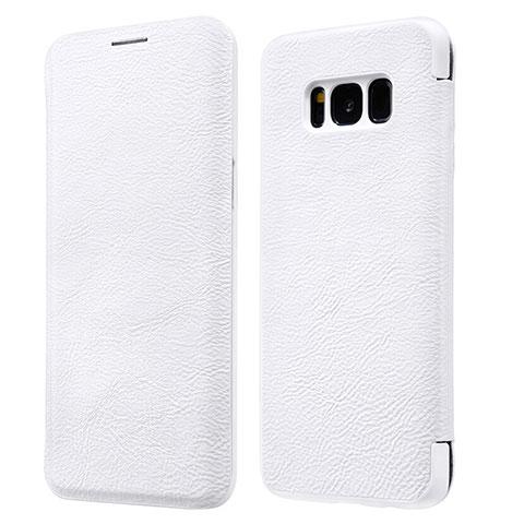 Handytasche Stand Schutzhülle Leder L01 für Samsung Galaxy S8 Weiß
